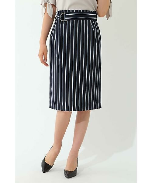 22 OCTOBRE / ヴァンドゥー・オクトーブル スカート | [洗える]マルチストライププリントスカート(ネイビー)
