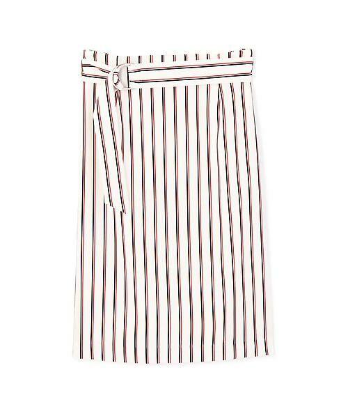 22 OCTOBRE / ヴァンドゥー・オクトーブル スカート | [洗える]マルチストライププリントスカート(ホワイト)