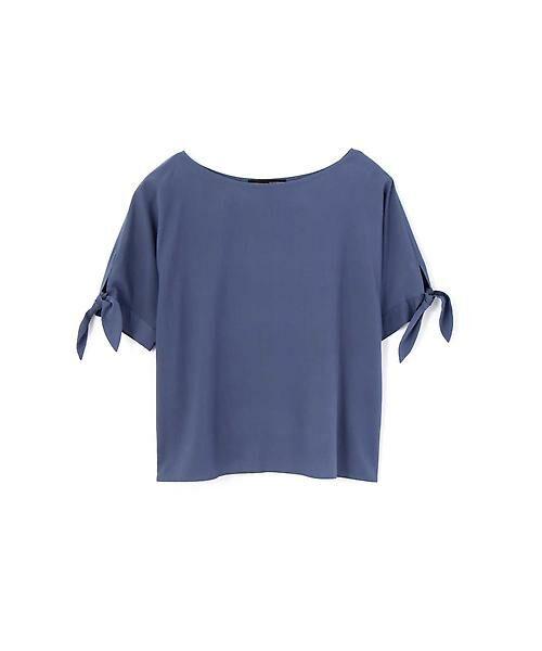 22 OCTOBRE / ヴァンドゥー・オクトーブル シャツ・ブラウス | [洗える]スリーブノットブラウス(ブルー)