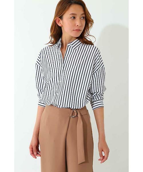 22 OCTOBRE / ヴァンドゥー・オクトーブル シャツ・ブラウス | ◆ストライプジャージーシャツ(ネイビー)