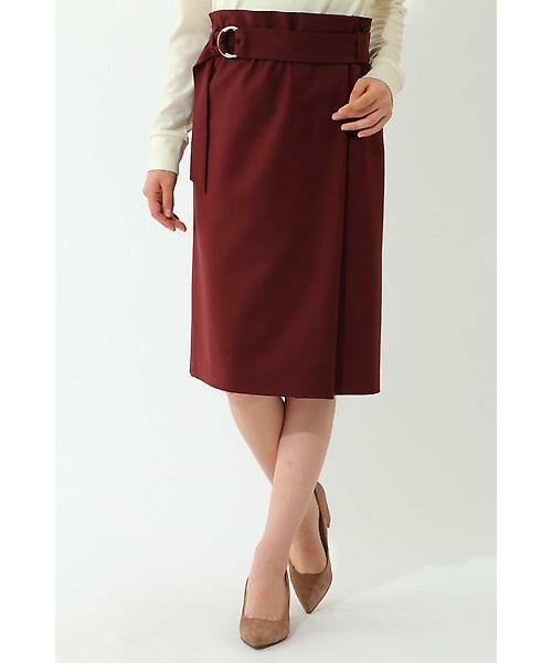 22 OCTOBRE / ヴァンドゥー・オクトーブル スカート | ハイウエストラップ風スカート(ボルドー)