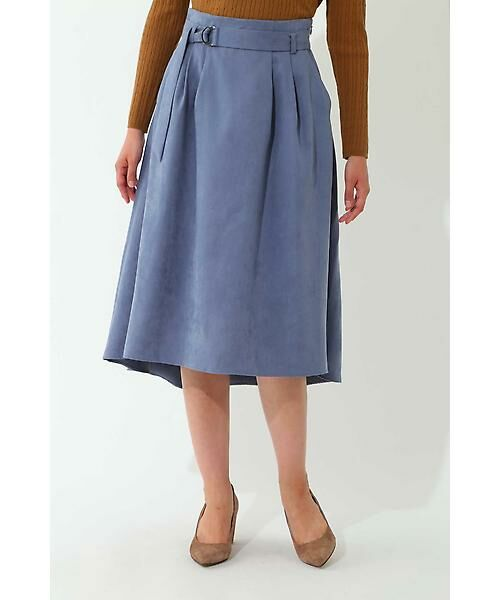 22 OCTOBRE / ヴァンドゥー・オクトーブル スカート | スエードフレアスカート(ブルー)