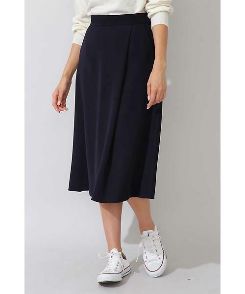 22 OCTOBRE / ヴァンドゥー・オクトーブル スカート | 平二重フレアスカート(ネイビー)