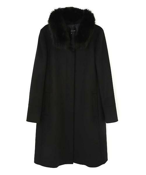22 OCTOBRE / ヴァンドゥー・オクトーブル アウター | ◆カシミヤ混ファー付ウールコート(ブラック)