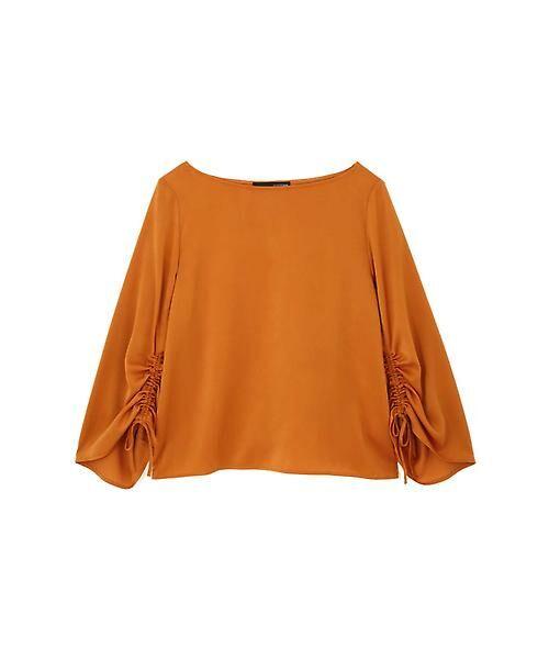 22 OCTOBRE / ヴァンドゥー・オクトーブル シャツ・ブラウス | ◆ピーチサテンギャザーブラウス(オレンジ)