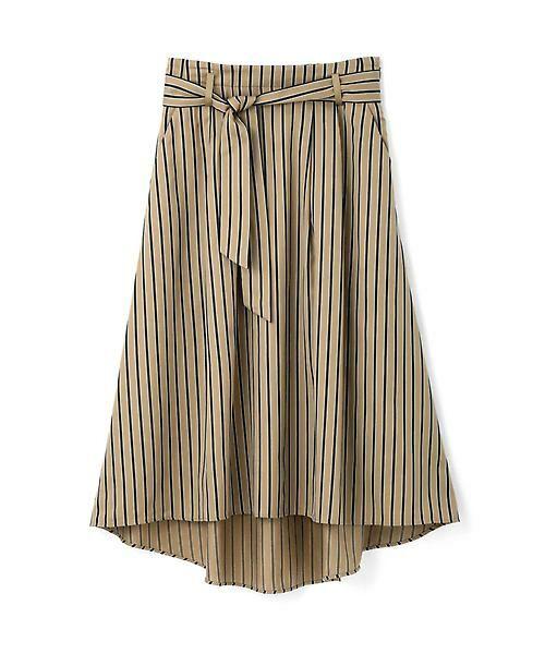 22 OCTOBRE / ヴァンドゥー・オクトーブル スカート | [WEB限定商品]マルチストライプフィッシュテールスカート(ベージュ)