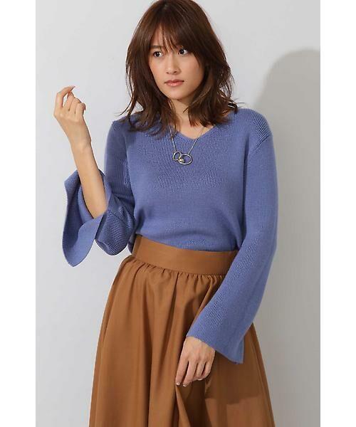 22 OCTOBRE / ヴァンドゥー・オクトーブル ニット・セーター | ◆スリットスリーブニット(ブルー)