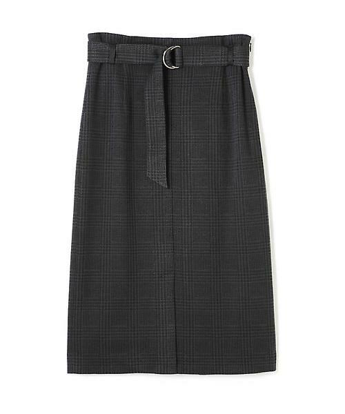 22 OCTOBRE / ヴァンドゥー・オクトーブル スカート | グレンチェックジャカードスカート(チャコールグレー5)