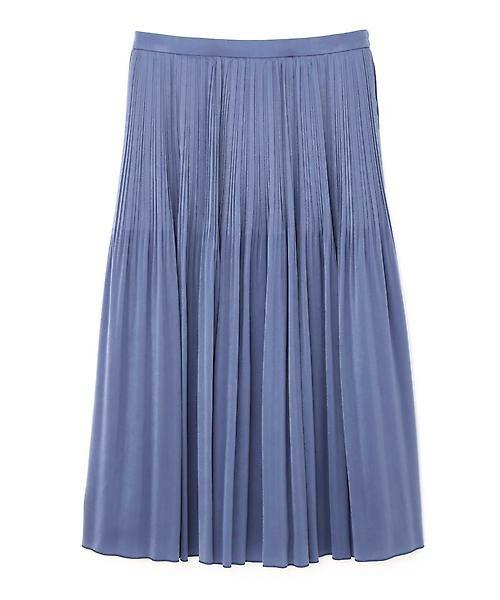 22 OCTOBRE / ヴァンドゥー・オクトーブル スカート | ◆ピーチサテンプリーツスカート(ブルー)