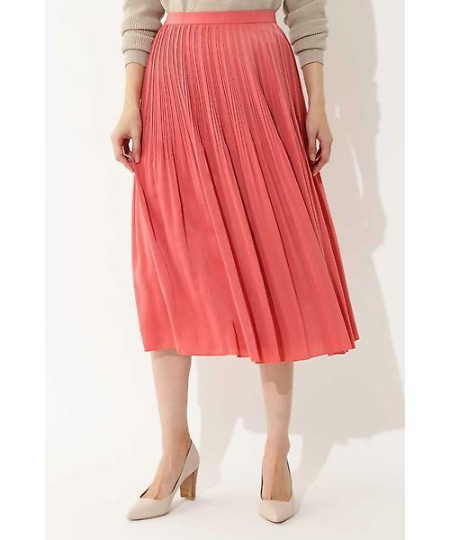 22 OCTOBRE / ヴァンドゥー・オクトーブル スカート | ◆ピーチサテンプリーツスカート(ピンク)