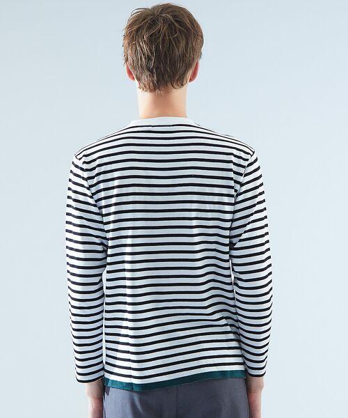 ABAHOUSE / アバハウス Tシャツ | 天竺ボーダースウェード圧着Tシャツ | 詳細3