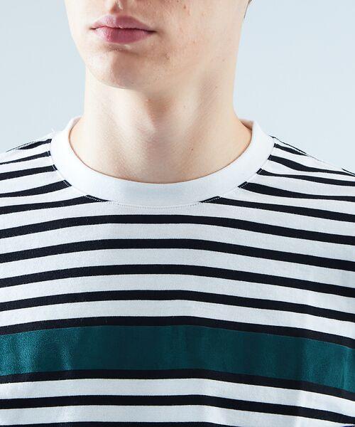 ABAHOUSE / アバハウス Tシャツ | 天竺ボーダースウェード圧着Tシャツ | 詳細4