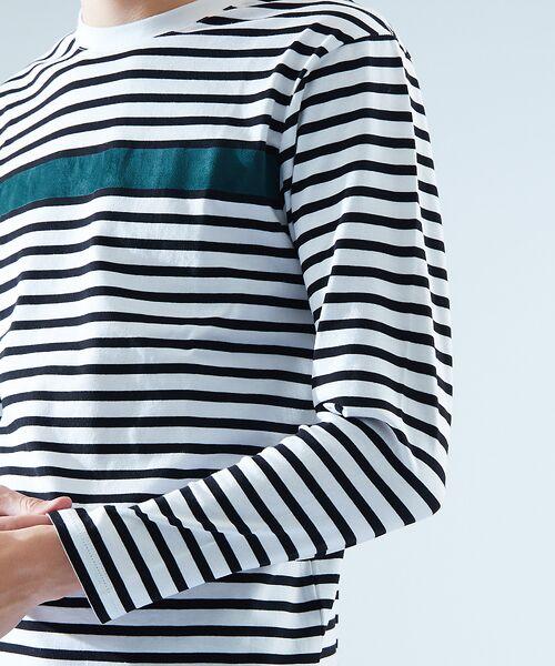 ABAHOUSE / アバハウス Tシャツ | 天竺ボーダースウェード圧着Tシャツ | 詳細5