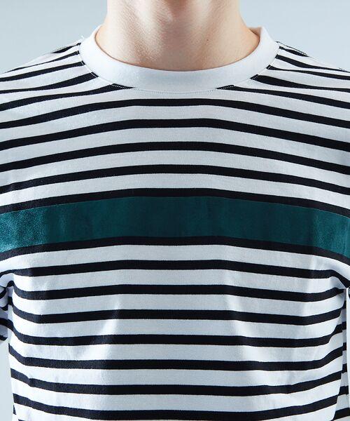 ABAHOUSE / アバハウス Tシャツ | 天竺ボーダースウェード圧着Tシャツ | 詳細7