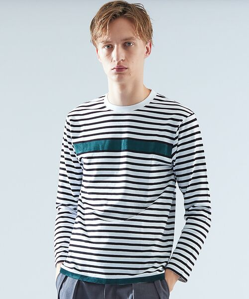 ABAHOUSE / アバハウス Tシャツ | 天竺ボーダースウェード圧着Tシャツ(オフホワイト)
