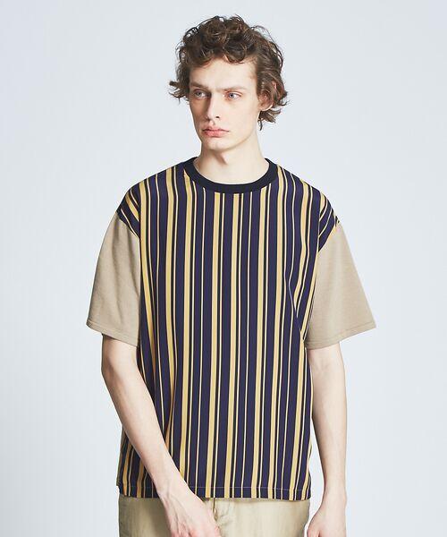 ABAHOUSE / アバハウス ニット・セーター | ストライプニットコンビTシャツ(キャメル)