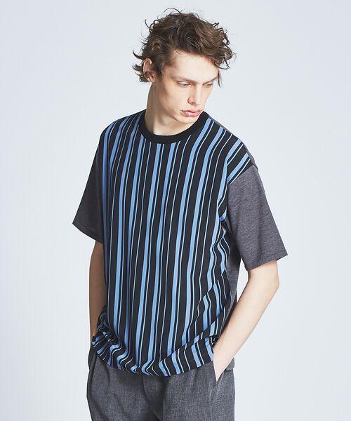 ABAHOUSE / アバハウス ニット・セーター | ストライプニットコンビTシャツ(ブルーグレー)