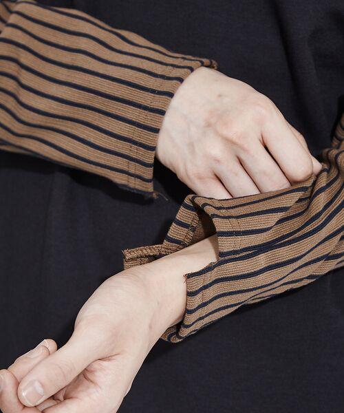 ABAHOUSE / アバハウス Tシャツ | 【WEARISTA とっしーコラボ】袖 ストライプ 切り替え ポンチ ロング T | 詳細25