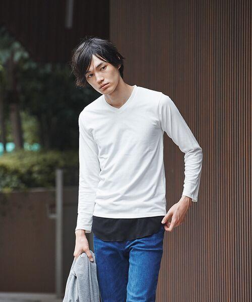 ABAHOUSE / アバハウス Tシャツ | 【展開店舗限定】杢スラブVネックロングTシャツ(ホワイト)