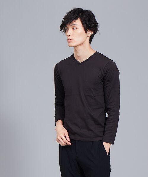 ABAHOUSE / アバハウス Tシャツ | 【展開店舗限定】杢スラブVネックロングTシャツ(ブラック)
