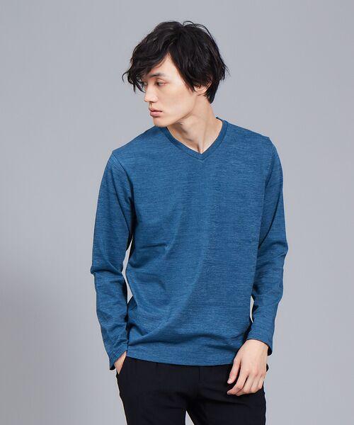 ABAHOUSE / アバハウス Tシャツ | 【展開店舗限定】杢スラブVネックロングTシャツ(グリーン)