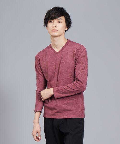 ABAHOUSE / アバハウス Tシャツ | 【展開店舗限定】杢スラブVネックロングTシャツ(ボルドー)