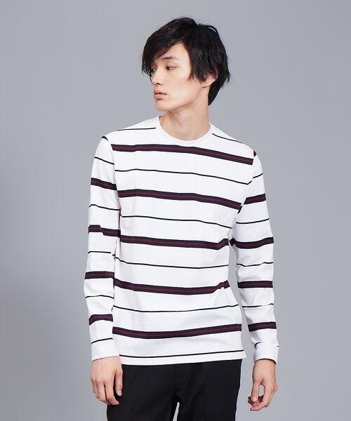 ABAHOUSE / アバハウス Tシャツ | 【展開店舗限定】梨地ポンチボーダープルオーバー(ホワイト)
