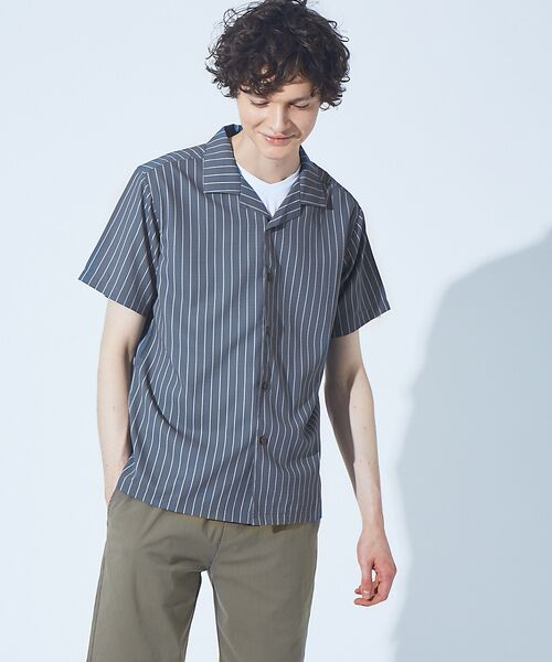 ABAHOUSE / アバハウス シャツ・ブラウス | 【展開店舗限定】チェック/ストライプ柄 オープンカラー 半袖シャツ(グレー)