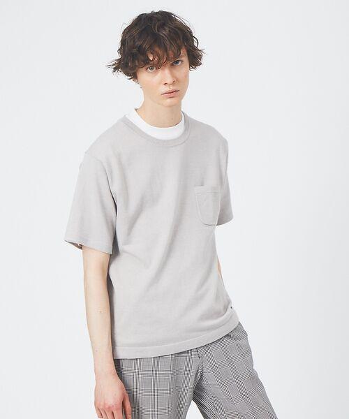 ABAHOUSE / アバハウス Tシャツ | アンサンブル ニット ポケットTシャツ(グレー)