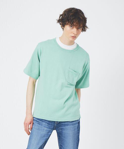 ABAHOUSE / アバハウス Tシャツ | アンサンブル ニット ポケットTシャツ(グリーン系その他1)