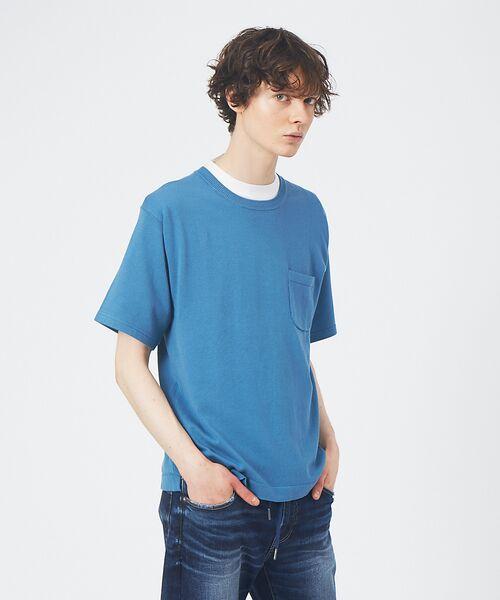 ABAHOUSE / アバハウス Tシャツ | アンサンブル ニット ポケットTシャツ(ブルー)