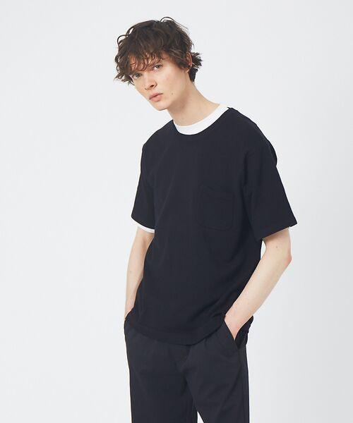 ABAHOUSE / アバハウス Tシャツ | アンサンブル ニット ポケットTシャツ(ブラック)