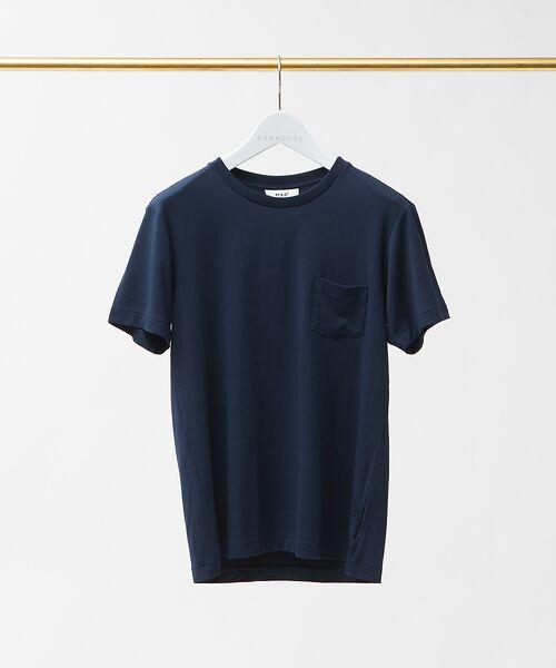 ABAHOUSE / アバハウス Tシャツ   MXP FINE DRY クルーネック ポケTシャツ(ネイビー)