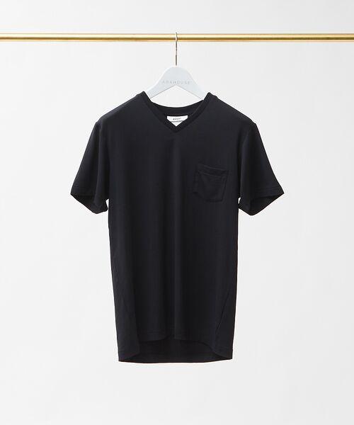 ABAHOUSE / アバハウス Tシャツ | MXP FINE DRY Vネック ポケTシャツ(ブラック)