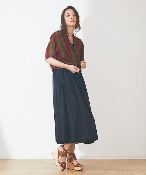 Abahouse Devinette / アバハウス・ドゥヴィネット ワンピース | カラーステッチギャザードレス | 詳細1