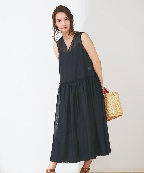 Abahouse Devinette / アバハウス・ドゥヴィネット ワンピース | カラーステッチギャザードレス(black)