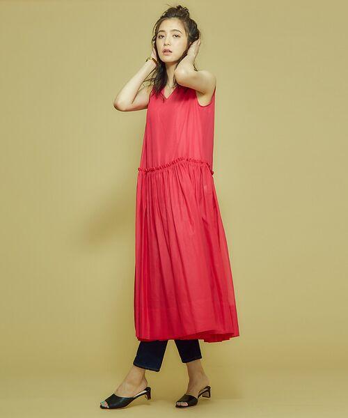 Abahouse Devinette / アバハウス・ドゥヴィネット ワンピース | カラーステッチギャザードレス | 詳細13