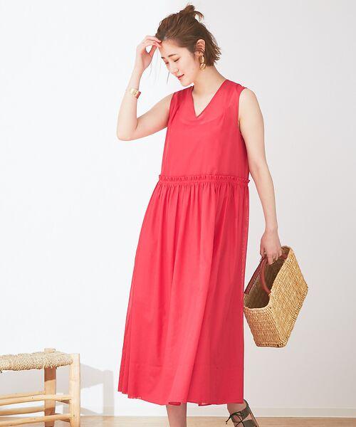 Abahouse Devinette / アバハウス・ドゥヴィネット ワンピース | カラーステッチギャザードレス(pink)