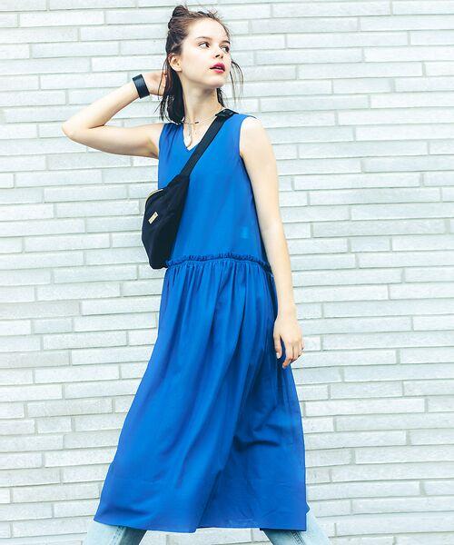 Abahouse Devinette / アバハウス・ドゥヴィネット ワンピース | カラーステッチギャザードレス(blue)