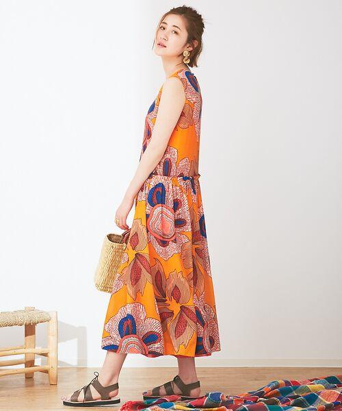 Abahouse Devinette / アバハウス・ドゥヴィネット ワンピース | ビッグフラワープリントギャザードレス | 詳細10
