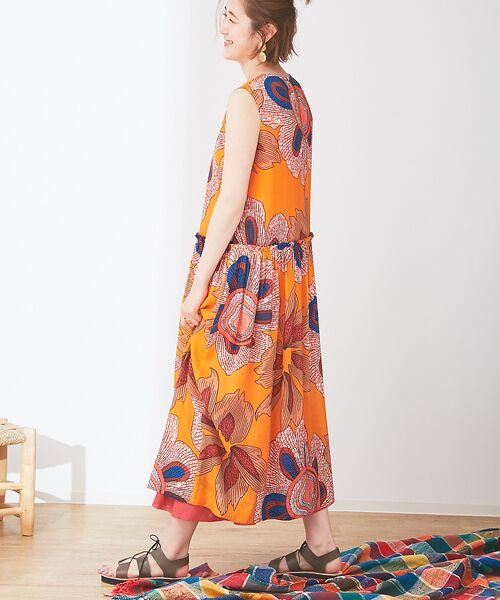 Abahouse Devinette / アバハウス・ドゥヴィネット ワンピース | ビッグフラワープリントギャザードレス | 詳細2