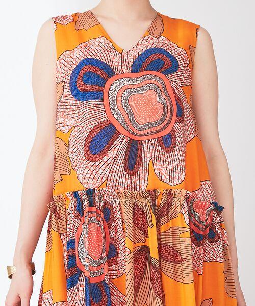 Abahouse Devinette / アバハウス・ドゥヴィネット ワンピース | ビッグフラワープリントギャザードレス | 詳細6