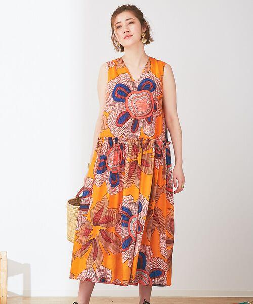 Abahouse Devinette / アバハウス・ドゥヴィネット ワンピース | ビッグフラワープリントギャザードレス(mix)
