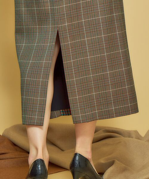 Abahouse Devinette / アバハウス・ドゥヴィネット ロング・マキシ丈スカート | ミックスチェックインタックスカート | 詳細4