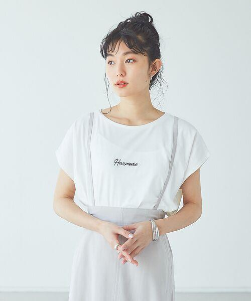 abahouse mavie / アバハウス マヴィ Tシャツ | ecru 刺繍ロゴゆるTシャツ | 詳細3