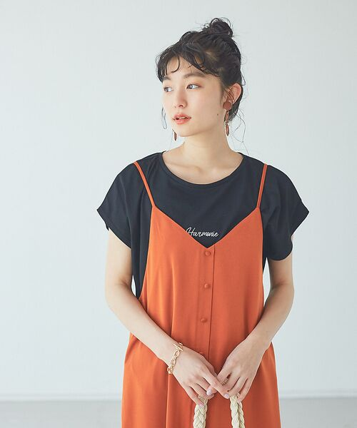 abahouse mavie / アバハウス マヴィ Tシャツ | ecru 刺繍ロゴゆるTシャツ(ブラック)