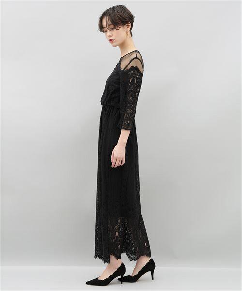 ADAM ET ROPE' / アダム エ ロペ ドレス | チュール×パネルレースドレス | 詳細4