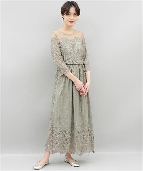 ADAM ET ROPE' / アダム エ ロペ ドレス | チュール×パネルレースドレス(キミドリ(34))