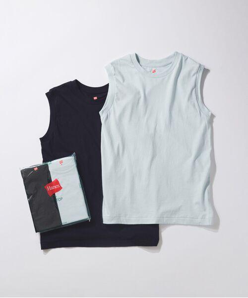 ADAM ET ROPE' / アダム エ ロペ カットソー | 【Hanes for BIOTOP】Sleeveless T-Shirts(カラー)(サックス(48))
