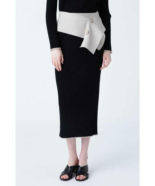 ADORE / アドーア スカート | トリミングリブスカート(ブラック)